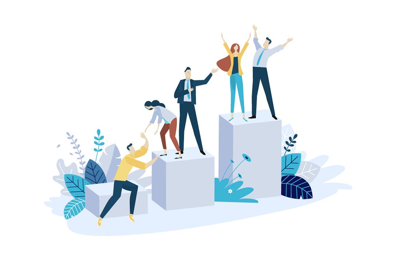 Employee Experience - Pessoas ajudando umas as outras para todas chegarem no topo