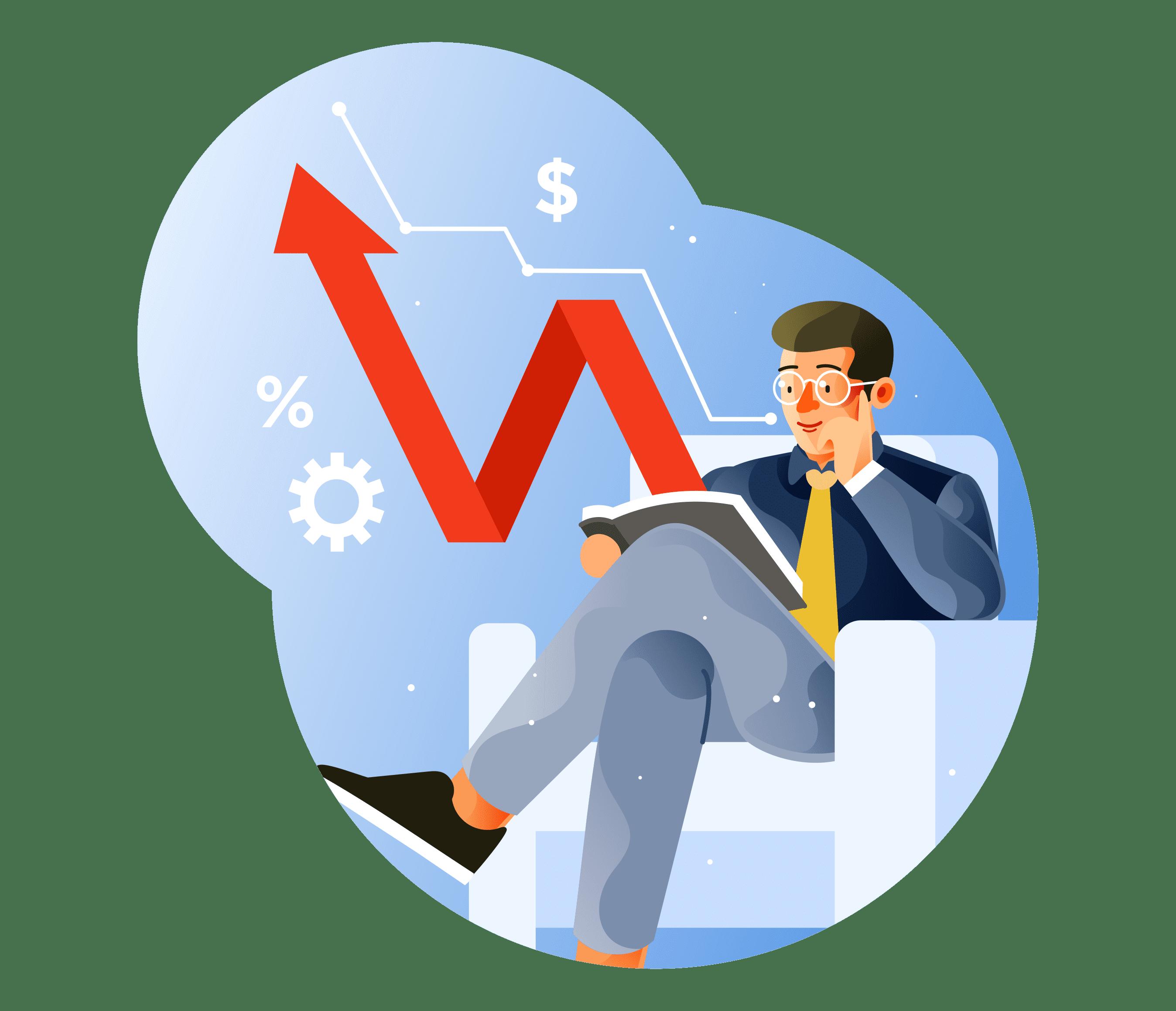 Indicadores Financeiros - Homem Analisando Dados Fiananceiros