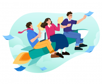 Cultura Organizacional - Três pessoas em cima de um foguete representando sucesso da empresa