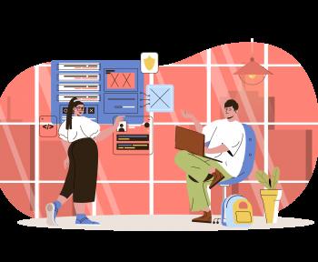 Endomarketing com Intranet - Imagem com pessoas simulando um ambiente virtual de trabalho.